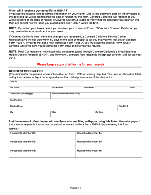 Fillable Online Dispute Form 1095-A for Covered California ...