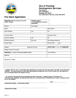 FIRE Alarm.doc. Project Report Template - cityofpuyallup
