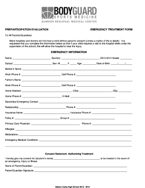Editable Free medical consent form for child while parents are away