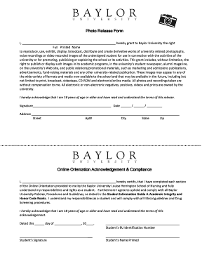 Photo Release Form Online Orientation ... - Baylor University - baylor