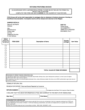 returns proforma invoice yoox