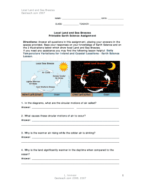Local Land And Sea Breezes Printable Earth Science Assignment - Fill ...