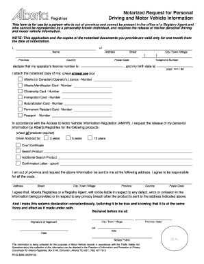 Alberta Notarized Request For Personal Driving And Motor