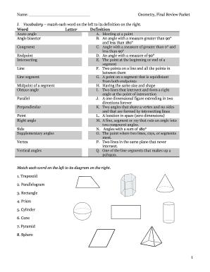Fillable Online Lps Lexingtonma Geometry Final Review