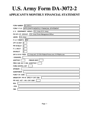 Fillable Online U.S. Army Form DA-3072-2. APPLICANT'S MONTHLY ...