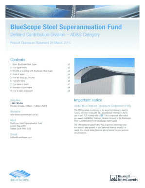 Fillable Online PDS - BlueScope Steel Superannuation Fund