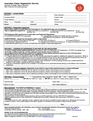 ACRS Master Cabler Application Form