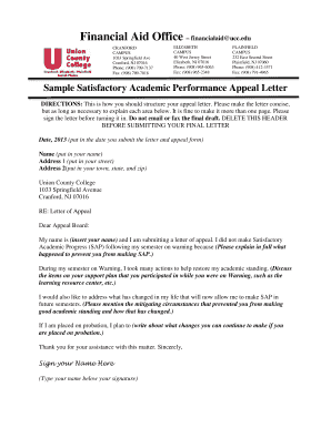 Printable financial aid appeal letter sample - Fill Out