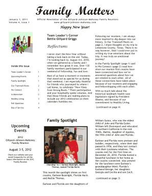 Gillyard Johnson Mahoneycom Form Family Reunion Newsletter Examples