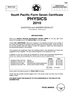 South Pacific Form Seven Certificate Biology Past Exam