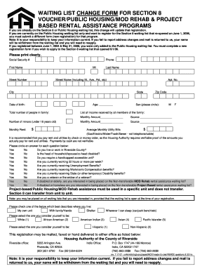 Fillable Online Waiting list change form for section 8 voucher ...