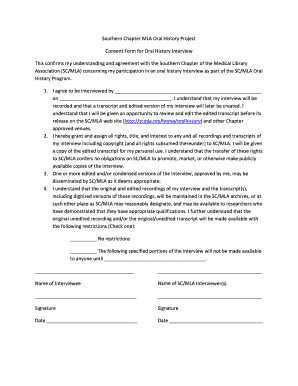 Consent Form For Interview Oral History