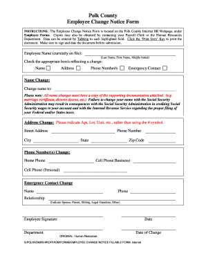 Employee Change Notice Form - Polk County Iowa - polkcountyiowa