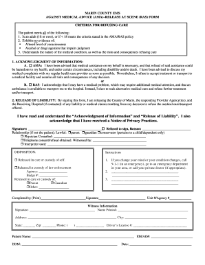 GPC 03A AMA / RAS FORM - Marin Emergency Medical Services