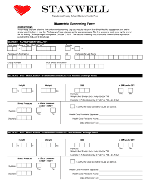 Fillable Online Biometric Screening Form Fax Email Print - PDFfiller