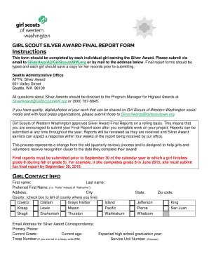 Fillable Online girlscoutsww GIRL SCOUT SILVER AWARD FINAL REPORT ...