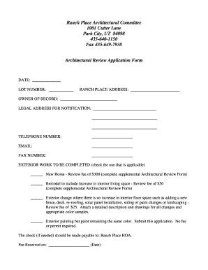 Fillable Online ranchplacehoa Architectural Committee Application ...