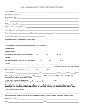 Land Lease Application Form - Union Pacific Railroad