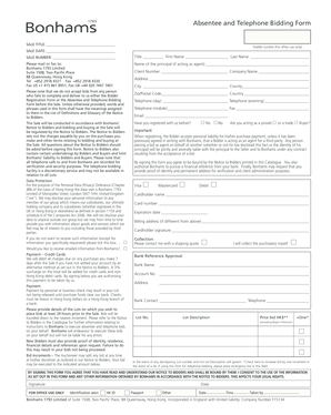 fillable online absentee and telephone bidding form forms bonhams