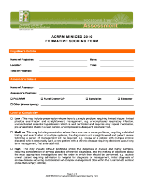 Acrrm minicex 2010 formative scoring form - Australian College of ...