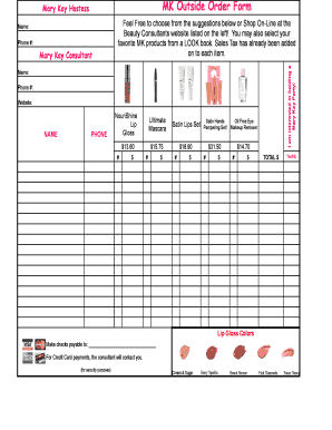 Fillable Online Mk Outside Order Form Mary Kay Director