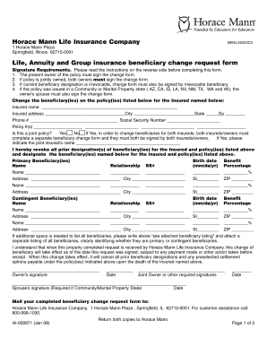 Fillable Online Beneficiary Change Form - The Horace Mann ...