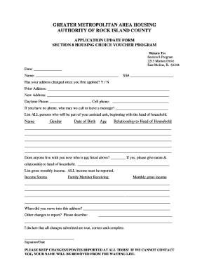 section 8 application form - Edit, Fill, Print & Download