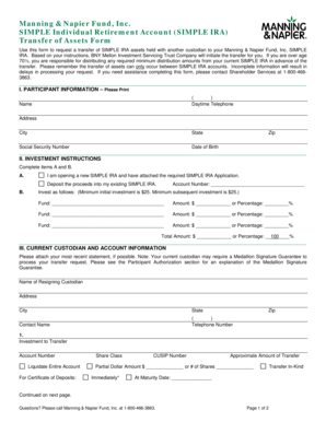 SIMPLE IRA Transfer of Assets Form - Manning & Napier
