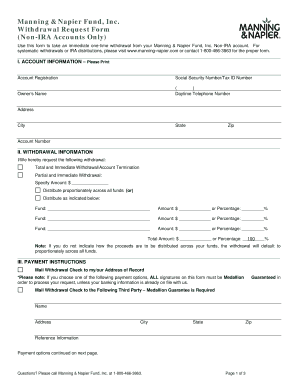 Fillable Online Non-IRA Withdrawal Form - Manning & Napier Fax ...