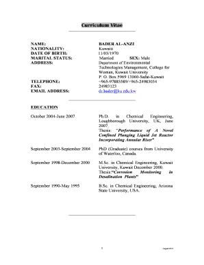 19 Printable Academic Cv For Masters Application Forms And Templates