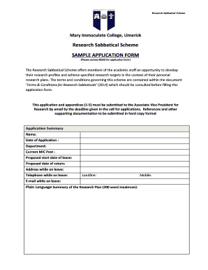 research sabbatical scheme sample application form - Sample Planned Giving Letters
