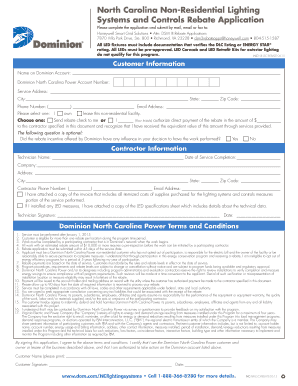 Fillable Online Rebate Application Dominion Fax Email