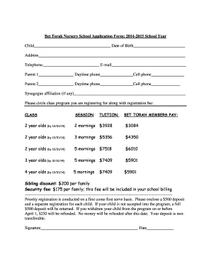 Lication Forms For Nursery School