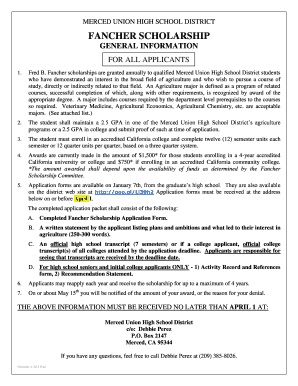 Fancher scholarship application form - Atwater FFA - atwaterffa
