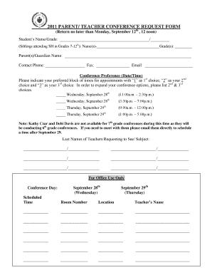 PARENT TEACHER CONFERENCE REQUEST FORM Fill Online, Printable ...