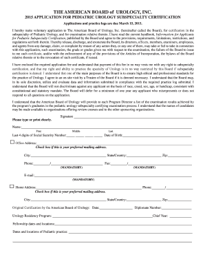 2015 PSC Application Packet - American Board of Urology