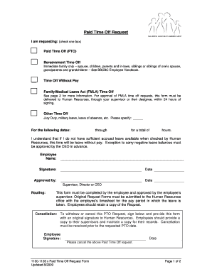 Fillable Online 1100-1128 x Paid Time Off PTO Request Form 6.24.10 ...