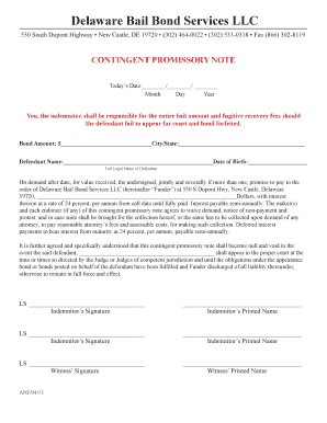 Fillable Online Promissory Note Form PDF Delaware Bail Bonds Fax - Llc promissory note template