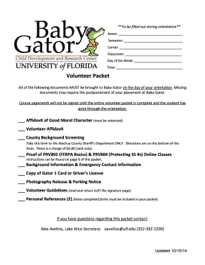 Baby Gator Lake Alice volunteer packet - University of Florida - babygator ufl