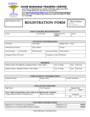 Sample computer training registration form fill online for Course enrolment form template