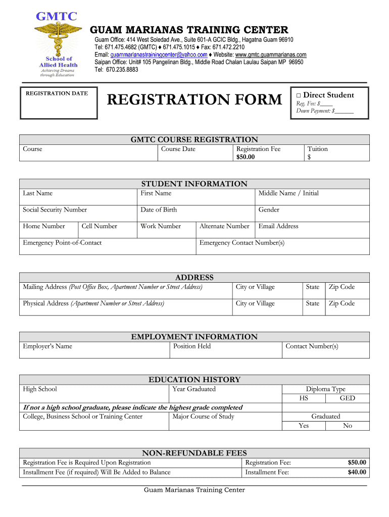 Sample Computer Training Registration Form - Fill Online