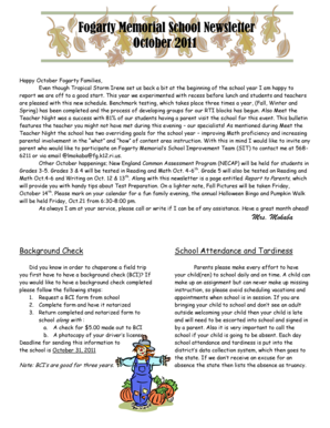 Fogarty Memorial School Newsletter October 2011 - OSHEAN