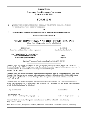 FORM 10-Q SEARS HOMETOWN AND OUTLET STORES, INC.
