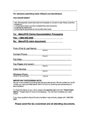 For claimants submitting Claim Affidavit and Identification
