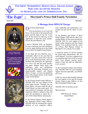 GL Newsletter, 58th - Prince Hall Grand Lodge of Maryland - mwphglmd