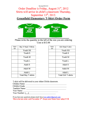 Fillable Online Greenfield Elementary Tshirt Order Form Doc