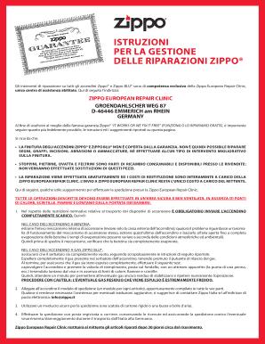 Fillable Online tabaccheriaprigione xoom ZIPPO EUROPEAN REPAIR ...