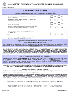 PASSPORT RENEWAL APPLICATION FOR ELIGIBLE INDIVIDUALS