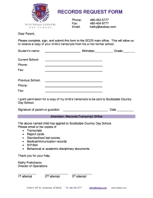 Fillable Online RECORDS REQUEST FORM - Scottsdale Country Day ...