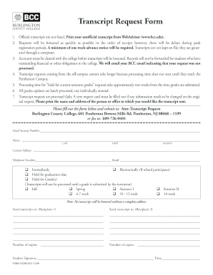Transcript Request Forms and Templates - Fillable & Printable ...
